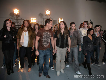 David Archuleta...  the shy one to the far right:-)