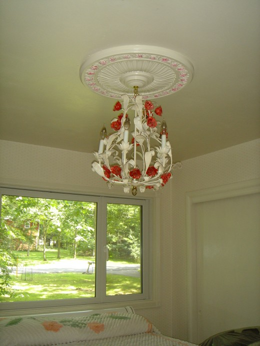Painted Chandelier and Ceiling Medalion