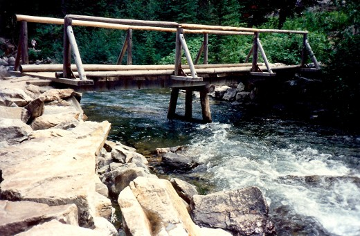 Many bridges like this one were built and are maintained to facilitate hiking the trails.