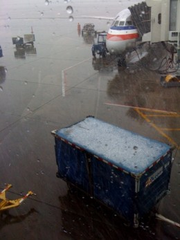 The snow outside the airport terminal.