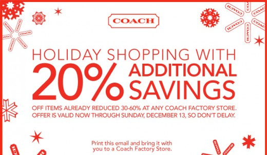 Example of a typical Coach Outlet Coupon