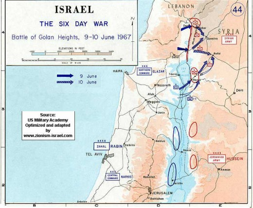 Israel - Map of 6-Day War - Golan Heights, 1967.  The lower blue arrow shows Israel's push through the Golan Heights.
