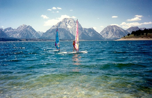 Windsurfing on beautiful Jackson Lake in the Tetons
