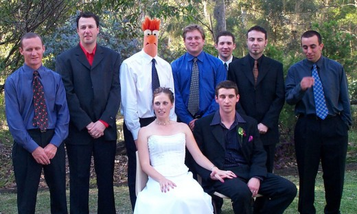 A few guys from work at the wedding of one of the guys from work. Brad looked like Beaker from the Muppets. He also managed to look like Milhouse from the Simpsons.