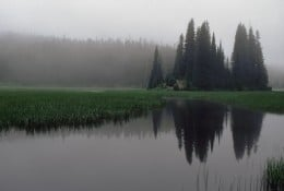 Fish Lake the next morning in the fog.