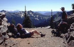 Resting at Sourdough Gap after long hard climb from Sheep Lake.