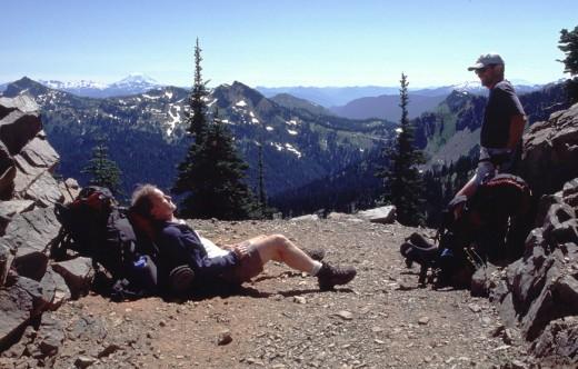 Resting at Sourdough Gap after long hard climb from Sheep Lake.