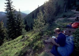 Bill writes in his trail journal at our bivouac at Bear Gap.