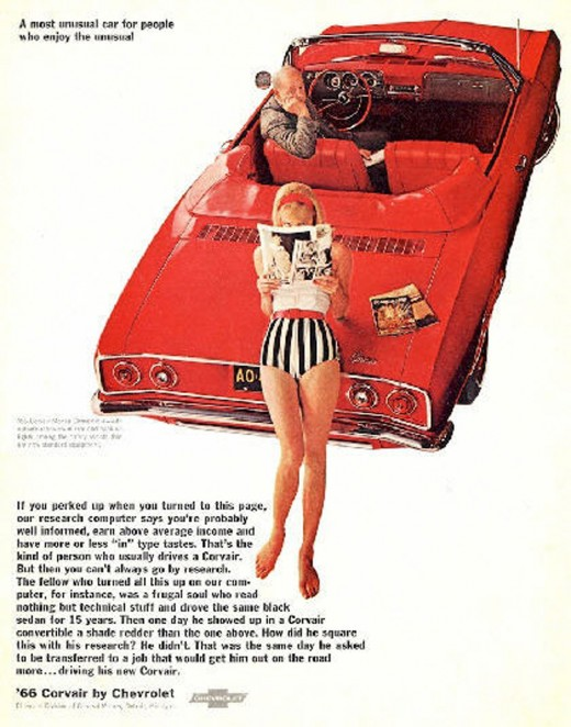 This is one of the 60s more blatant ads using sex. It is classic like a Alfred Hitchcock movie, the reader wonders what thoughts both actors have of the car, themselves, or a relationship. Visually appealing, does the man want the car? the woman? is
