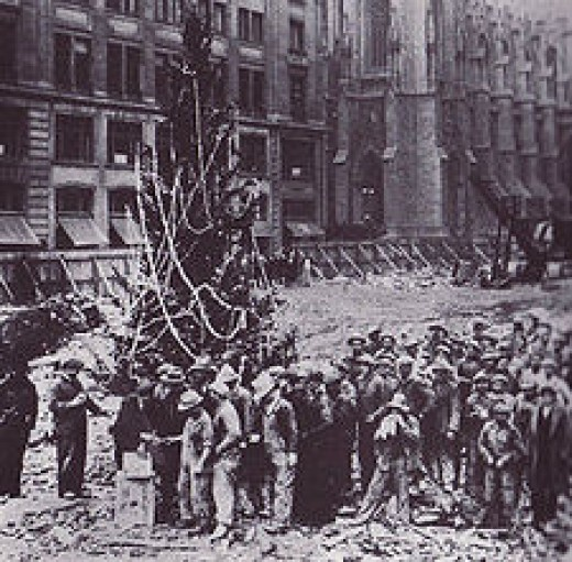 First Christmas tree in Rockefeller Center.  Public Domain