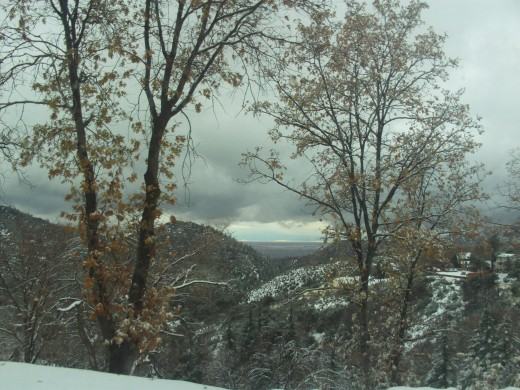 Looking down at Hesperia on a snowy day.