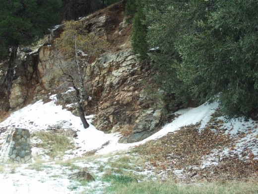 Snow in patches on the mountain.