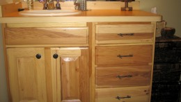 Hickory cabinets for rustic decor.