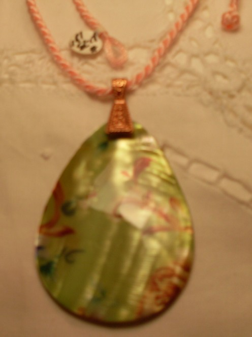 Lime Shell Teardrop Pendant on Peach Chinese Silk Cord Necklace