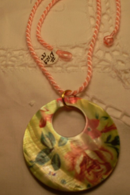 Lime Floral Donut Shell Pendant on Peach Chinese Silk Cord, Necklace
