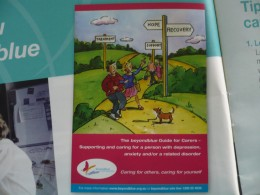 THIS 40 PAGE BOOKLET 'CARING FOR OTHERS, CARING FOR YOURSELF'.IT HAS BEEN DESIGNED TO ASSIST CARERS IN LOOKING AFTER THEIR LOVED ONES AND ALSO THEMSELVES. IT CAME ABOUT AS THE RESULTS OF YEARS OF RESEARCH CARRIED OUT BY A TEAM CALLED 'BEYONDBLUE'