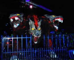 The three headed monster can be found living at Monster Minigold, Middletown NY.
