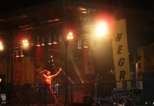 Spanish band Magica Negra excites a crowd in Haro after La Batalla de Vino (2007)