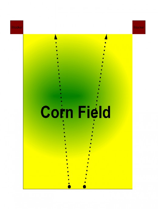 Typical setup for hunting corn fields. Blockers are represented by the red boxes and the path of the drivers represented by the arrows.