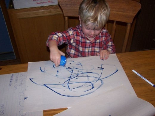 Painting and loving it, with a Crayola Washable All-In-One.