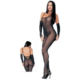 Fishnet body stocking with lace detail