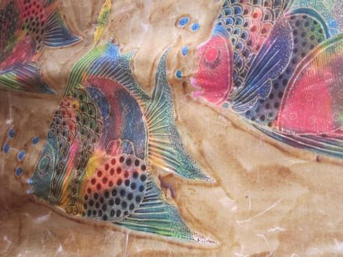 Batik - fish design in the making