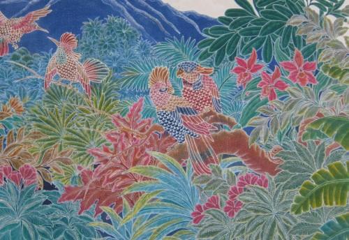Batik art - birds in the jungle
