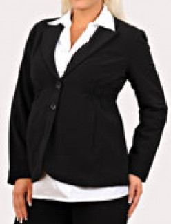 button front bi-stretch suiting maternity jacket, $34.99, motherhood.com. Photo credit, motherhood.com