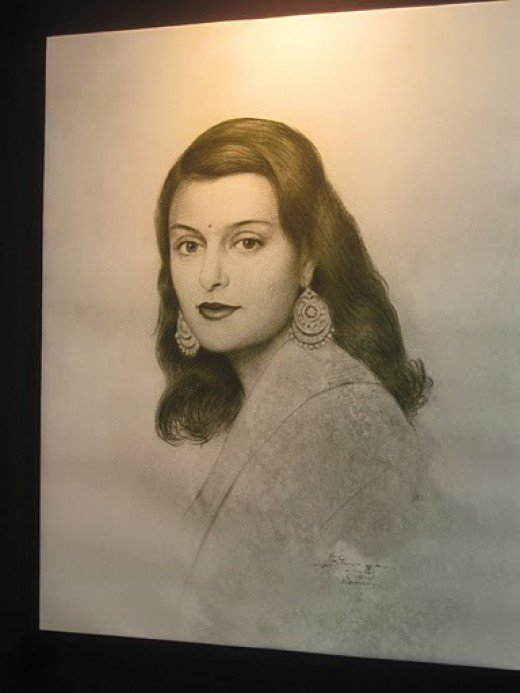 Maharani Gayatri Devi black and white photo
