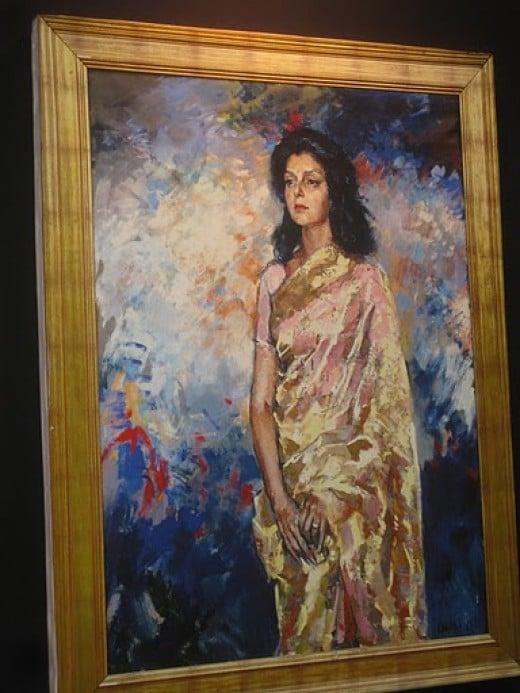 Maharani Gayatri Devi standing pose