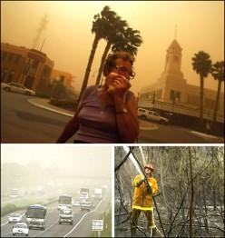 Top: Mildura blanketed in dust  Bottom Left: Slowed traffic         Bottom Right: Fighting fire