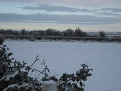 picture of a snow covered English countryside