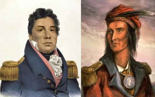 Choctaw Chief Pushmataha and Shawnee Chief Tecumseh (public domain).