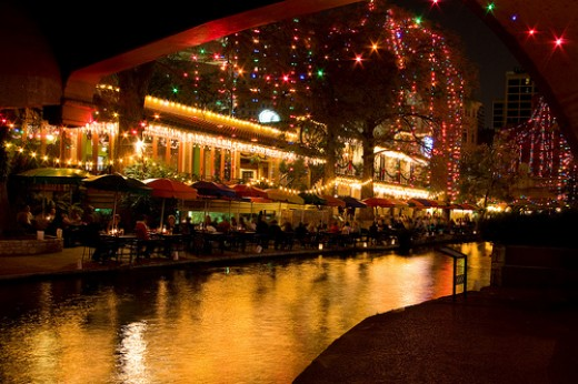 Riverwalk with lights