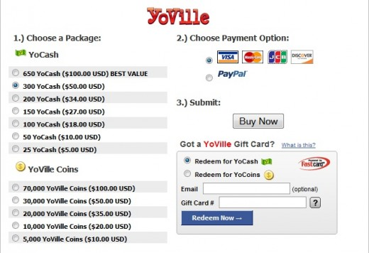 Yocash can only be purchased through PayPal or with a credit card