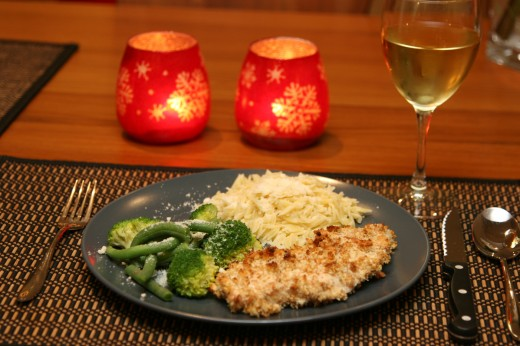 Stuffing encrusted chicken with broccoli, green beans, and orzo pasta