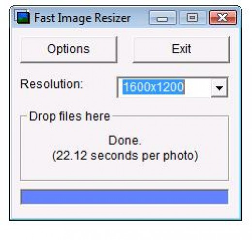 Fast Image resizer main screen