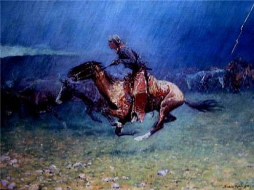 """Stampede"" by Frederick Remington (1908)"