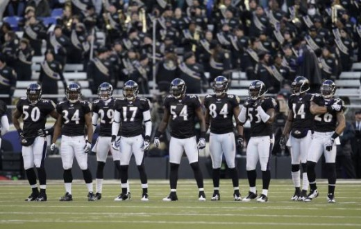 Members of the Baltimore Ravens kick off team line up against the Chicago Bears during the first half of an NFL football game, Sunday, Dec. 20, 2009, in Baltimore. (AP Photo/Rob Carr)
