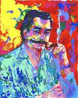 LeRoy Neiman colorful painting of man with black hair and mustache smoking a cigar