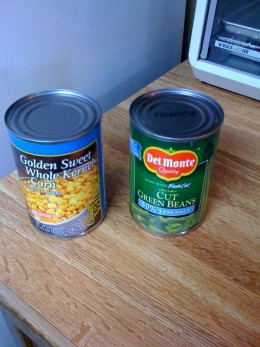 A can of corn and a can of green beans. Use canned or frozen vegetables.