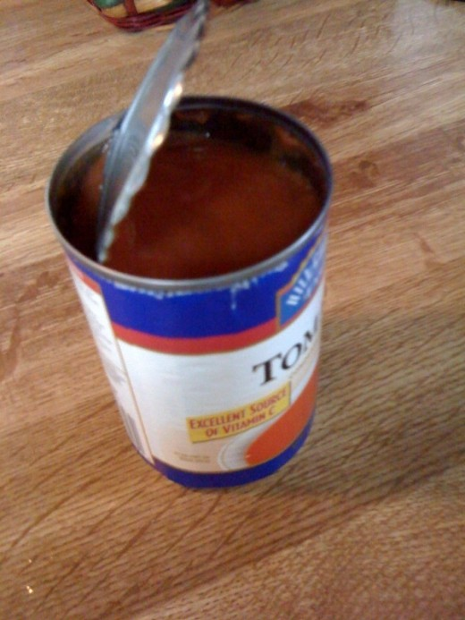 A small can of tomato soup.