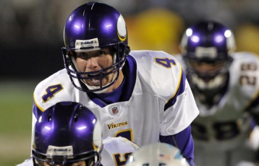 Brett Favre (4) is shown during the first half of an NFL football game in Charlotte, N.C., Sunday, Dec. 20, 2009. (AP Photo/Mike McCarn)