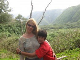 Getting a hug from my eldest in Polulu Valley