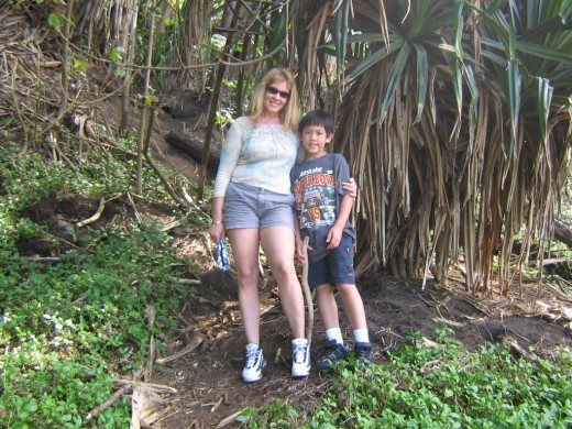 Youngest and I under a lauhala tree - quality time spent w/ my boys in Polulu Valley.