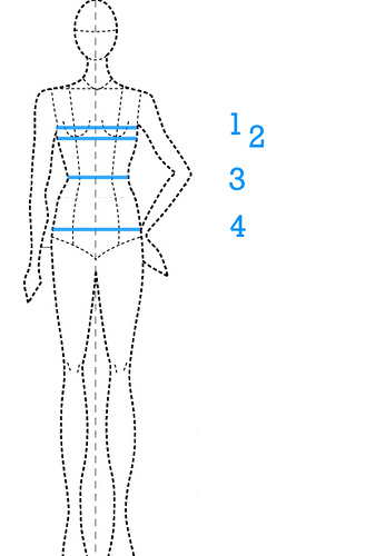 The type of body chart that shows where some common liposuction request areas can be.