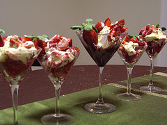 Trifle made in individual portions makes an Ideal Desert for Weddings or large Social Gatherings.