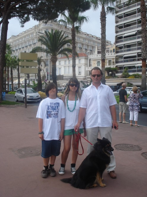 My Husband, Daughter, Son & Benda in Cannes, France