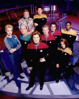 Cast of Star Trek: Voyager.  They wanted to boldy return from where no one had gone before--an odd premise for Star Trek, but I liked it anyway.