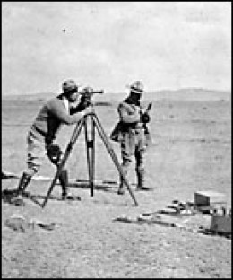 Colonel Fawcett using his theodolite